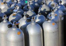 Air tanks. Scuba air tanks with valves stock photos