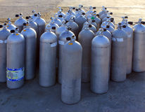 Air tanks. Scuba air tanks with valves stock images
