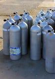 Air tanks. Scuba air tanks with valves royalty free stock photos