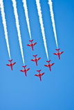 Air Team Flight Show. Seven jet fighters on sky during aerobatic team flight air show Royalty Free Stock Photo
