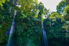 Air Terjun Kelambu waterfall on the island Lombok, Indonesia stock images