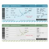 Air ticket with barcode, Airline boarding pass. Vector Stock Image