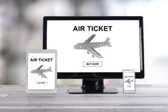 Air ticket booking concept on different devices. Air ticket booking concept shown on different information technology devices Royalty Free Stock Photos