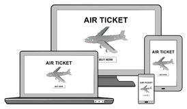 Air ticket booking concept on different devices. Air ticket booking concept shown on different information technology devices Royalty Free Stock Photography