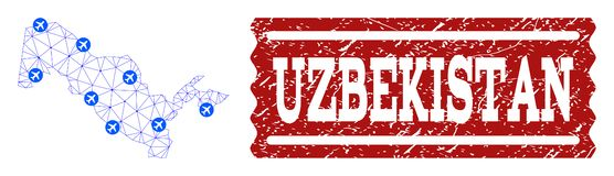 Air Ticket Collage of Polygonal Mesh Map of Uzbekistan and Distress Stamp stock illustration