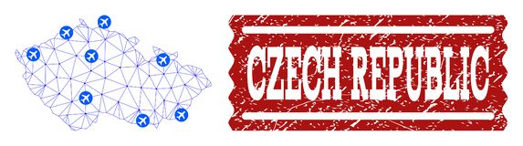 Air Ticket Composition of Polygonal Mesh Map of Czech Republic and Grunge Stamp vector illustration
