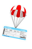 Air Ticket with Parachute Stock Photo