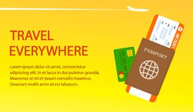 Air Ticket, Passport, Visa Vector Banner Template vector illustration