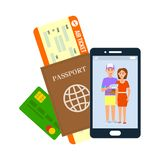 Air Ticket, Passport, Visa Vector Illustration. Abroad Traveling. Debit Card, Boarding Pass Flat Drawing. Couple Photo on Smartphone Screen Isolated Clipart vector illustration