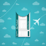 Air ticket on sky background. Royalty Free Stock Photos