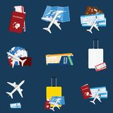 Air ticket travel sign illustration. On blue background Stock Image