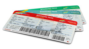 Air tickets. Creative abstract air business travel, tourism and transportation concept: group of color airline tickets for first, business and economy class Stock Photos