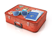Air tickets in the passport and and sunglasses on the vintage su Stock Photo