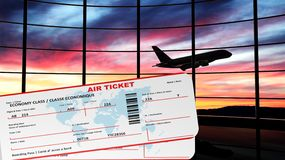 Air tickets with sunset and airplane. Silhouette as background Stock Photos