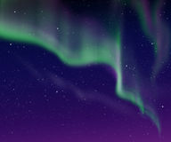 In the air tonight. Beautiful sky with green aurora in the night Royalty Free Stock Photo
