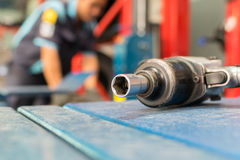 Air tools at car garage Stock Photography