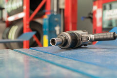 Air tools at car garage Royalty Free Stock Images