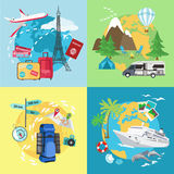 Air tourism. Caravaning and camping tourism Stock Image