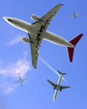 Air Traffic. Composite image of five planes Stock Photography