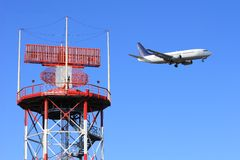 Air traffic control. Radar airport with jet airplane on background Royalty Free Stock Images
