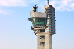 Air traffic control tower. At an airport on a stormy looking day Royalty Free Stock Photos