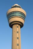 Air traffic control tower. Of Schiphol, Amsterdam at sunrise stock images