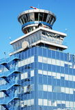 Air traffic control tower. View of the airport control tower in Prague airport Ruzyne Stock Photos