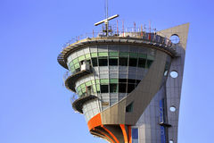 Air traffic control tower of the airport. With radio and radar facilities and optical surveillance devices Royalty Free Stock Photography