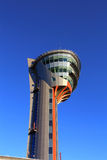 Air traffic control tower of the airport. With radio and radar facilities and optical surveillance devices Royalty Free Stock Image