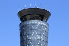 Dayton - Circa April 2018: The Air Traffic Control Tower at Dayton International Airport IV. The Air Traffic Control Tower at Dayton International Airport. Built Royalty Free Stock Photo