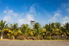 Air Traffic Control Tower on Exotic Island Royalty Free Stock Photo