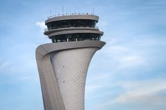 Air traffic control tower of Istanbul new Airport. Turkey royalty free stock images