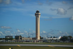 Air Traffic Control Tower at Miami International Airport. MIAMI, FLORIDA - JUNE 1, 2016: Air Traffic Control Tower at Miami International Airport Stock Photos