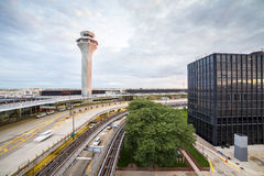 Air traffic control tower. And multilevel infrastructure Stock Images