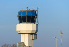 Air traffic control tower. Small air traffic controle tower in the morning on a nice day Royalty Free Stock Image