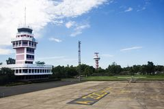Air Traffic Control tower and Small plane stop on runway at Ubon Ratchathani International Airport. On September 17, 2017 in Ubon Ratchathani, Thailand Stock Images