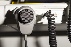 Air traffic controller and microphone Royalty Free Stock Photo