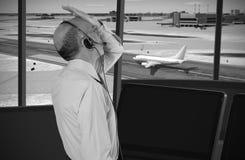 Air traffic controller at work. Stressed air traffic controller at work Royalty Free Stock Photos