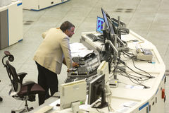 Air traffic controllers monitors. Sofia, Bulgaria - September 12, 2016: Air traffic controllers at work in the flight control tower at Sofia`s airport Stock Image