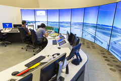 Air traffic controllers monitors. Sofia, Bulgaria - September 12, 2016: Air traffic controllers at work in the flight control tower at Sofia`s airport Royalty Free Stock Photography