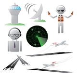 Air Traffic Icon Collection. An assortment of icons related to airports and air traffic control Royalty Free Stock Photos