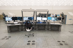 Air traffic monitor and radar in the controll center room Stock Image