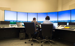 Air traffic monitor and radar in the controll center room Royalty Free Stock Images