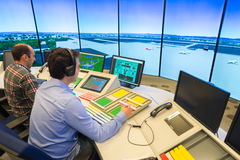 Air traffic monitor and radar in the controll center room Royalty Free Stock Photos