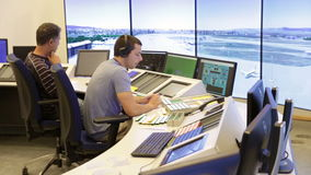 Air Traffic Services Authority control center. Sofia, Bulgaria - September 12, 2016: An air traffic controller is directing flights during a working day at stock video