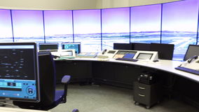 Air Traffic Services Authority controller's desk. Bullgaria's Air Traffic Services Authority control center room. Controller's desk near control computer stock footage