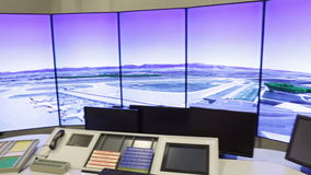 Air Traffic Services Authority controller's desk. Bullgaria's Air Traffic Services Authority control center room. Controller's desk near control computer stock video footage