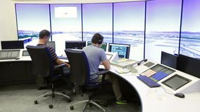 Air Traffic Services Authority controller. Sofia, Bulgaria - September 12, 2016: An air traffic controller is directing flights during a working day at Bullgaria stock footage