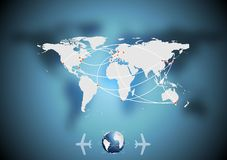 Air traffic vector background with world map Royalty Free Stock Photography