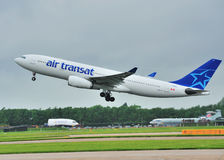 Air Transat airbus A330. Taking off from Manchester Airport stock photography